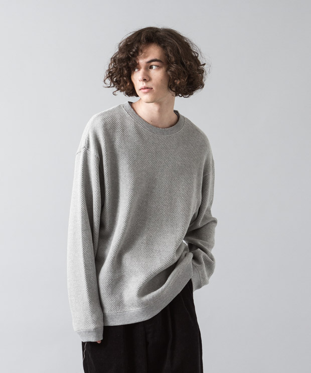 Moss Stitch Wide Pullover - GRAY
