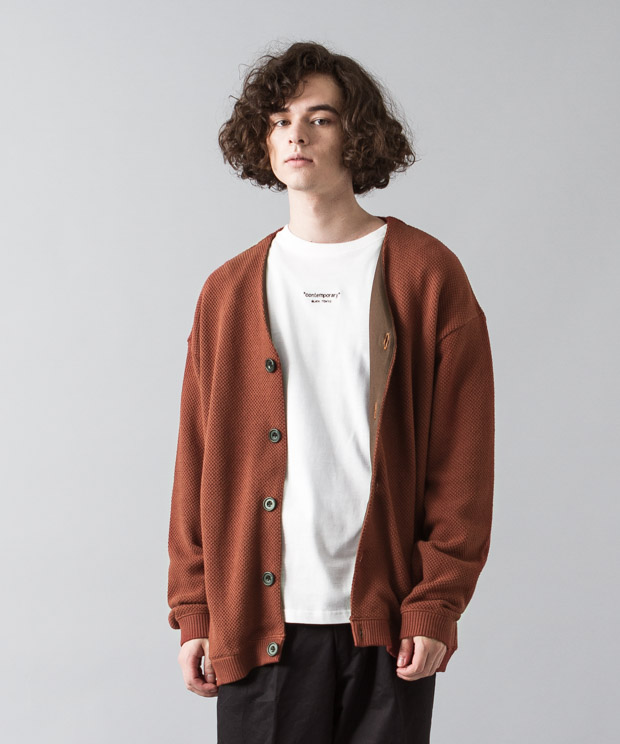 Moss Stitch Wide Cardigan - BROWN