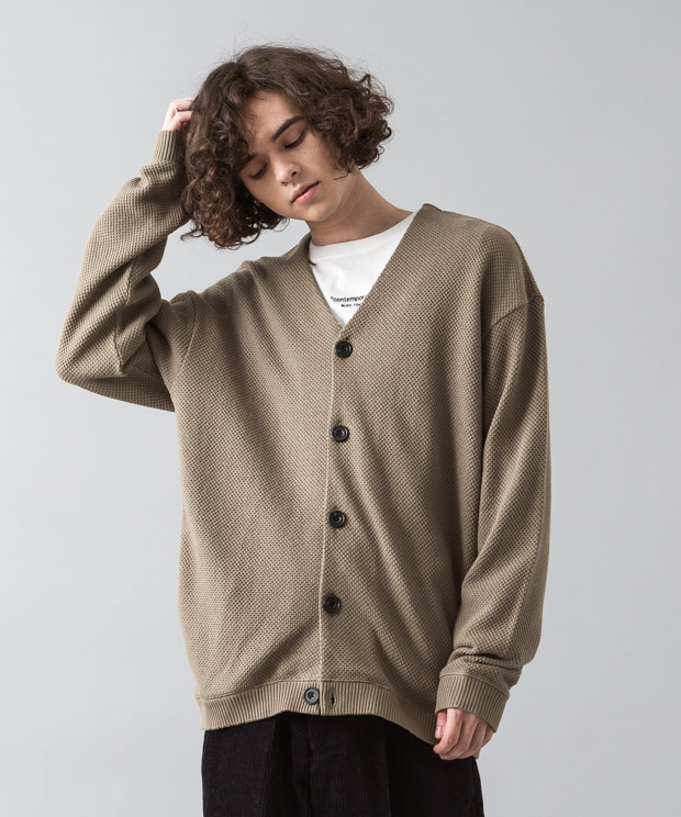 Moss Stitch Wide Cardigan - BEIGE