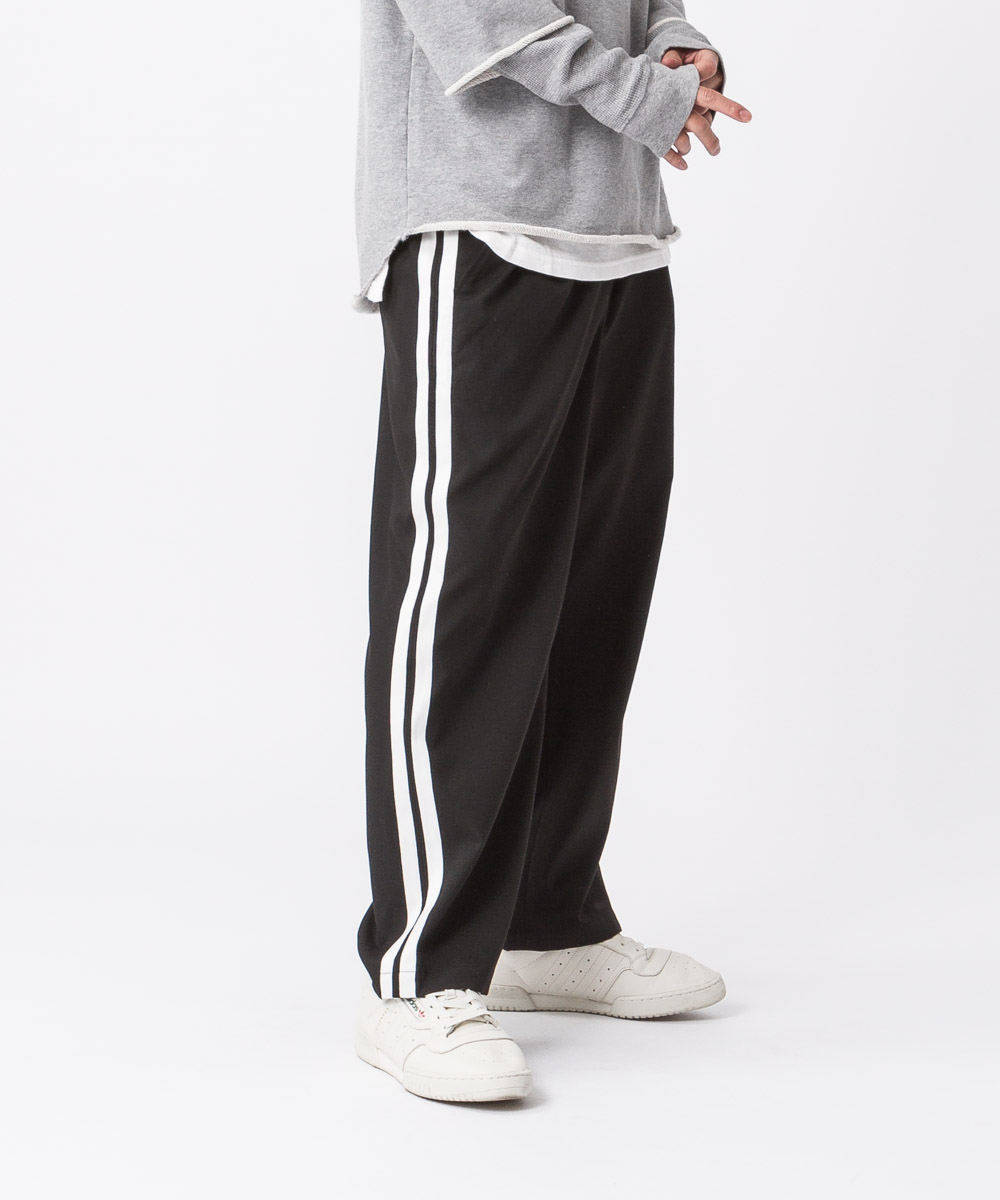 Tr Stretch Side Line Wide Pants - BLACK