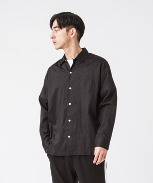Satin Open Collar Shirt - BLACK