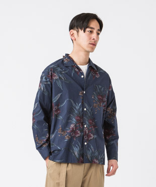Dark Aloha Open Collar Shirt - NAVY
