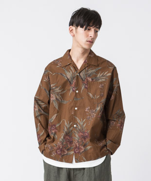 Dark Aloha Open Collar Shirt - BROWN