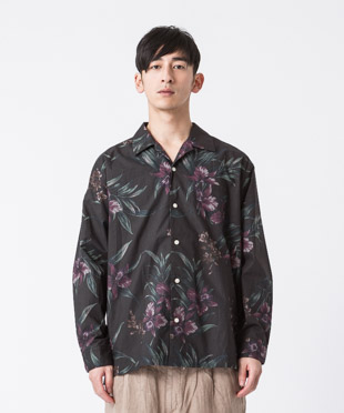 Dark Aloha Open Collar Shirt - BLACK