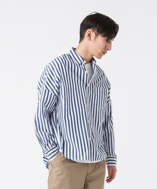 Striped Dropped Shoulders Shirt - BLUE/WHITE