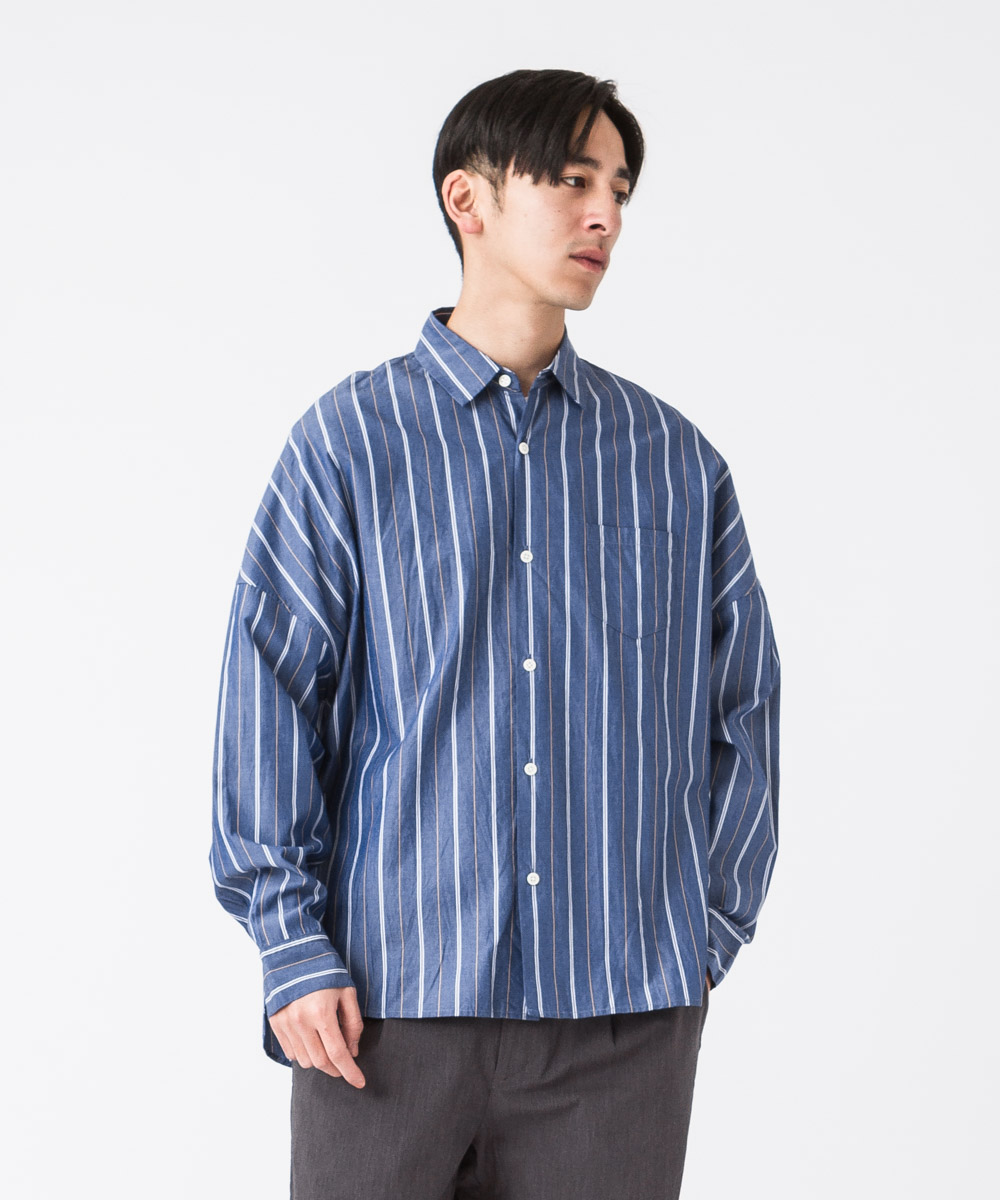 Striped Dropped Shoulders Shirt - BLUE MULTI