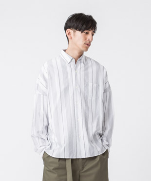 Striped Dropped Shoulders Shirt - WHITE MULTI