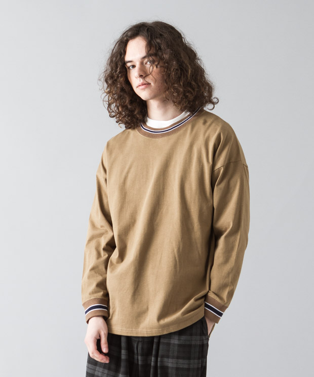 [予約商品]Dropped Shoulders Rib Line T-Shirt - CAMEL