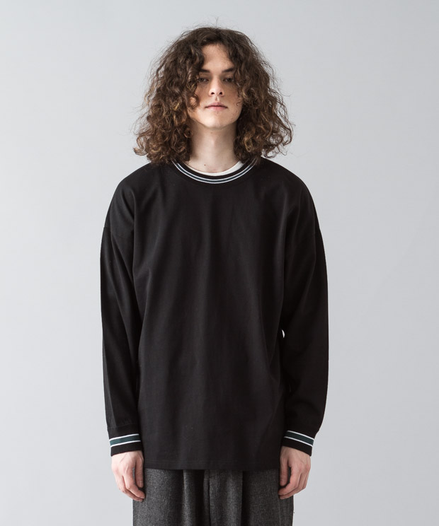 [予約商品]Dropped Shoulders Rib Line T-Shirt - BLACK
