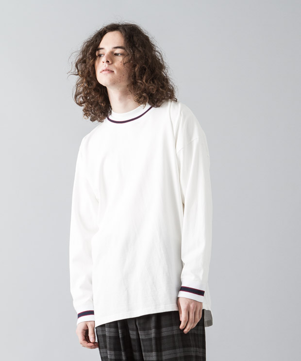 [予約商品]Dropped Shoulders Rib Line T-Shirt - WHITE