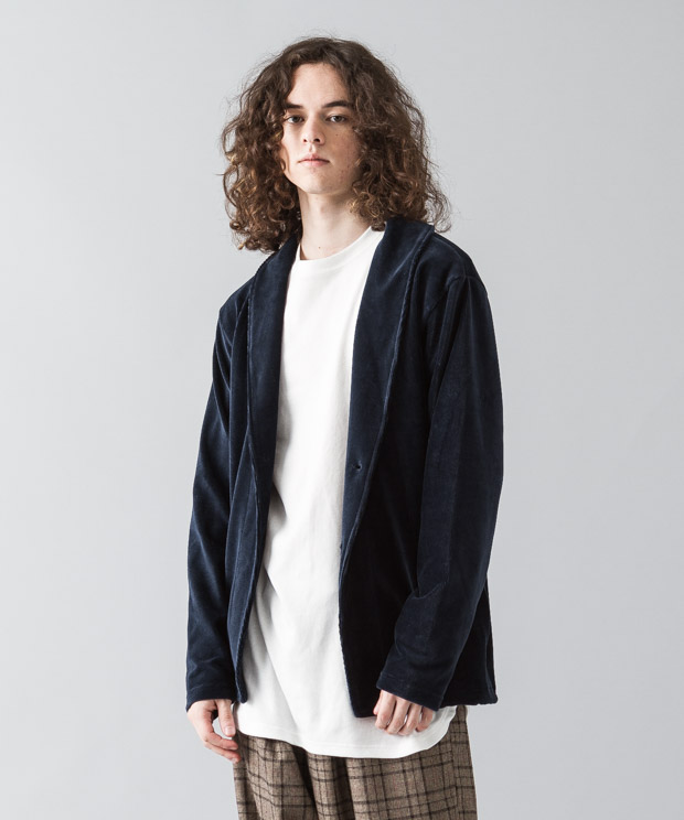 Knit-Corduroy Shawl Cardigan - NAVY