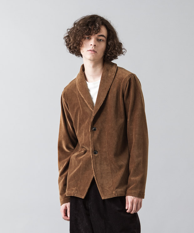 Knit-Corduroy Shawl Cardigan - BROWN
