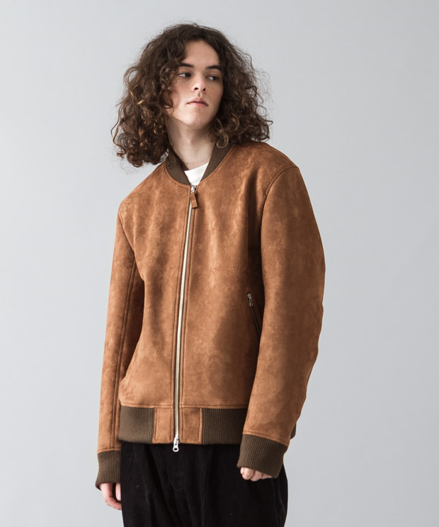 Stretch Faux Suede Bomber Jacket - CAMEL