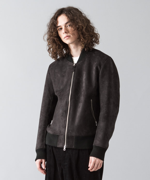 Stretch Faux Suede Bomber Jacket - BLACK