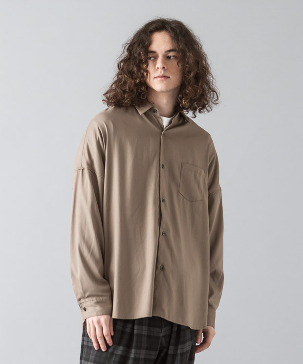 [予約商品]Tr Stretch Dropped Shoulders Shirt - MOCHA