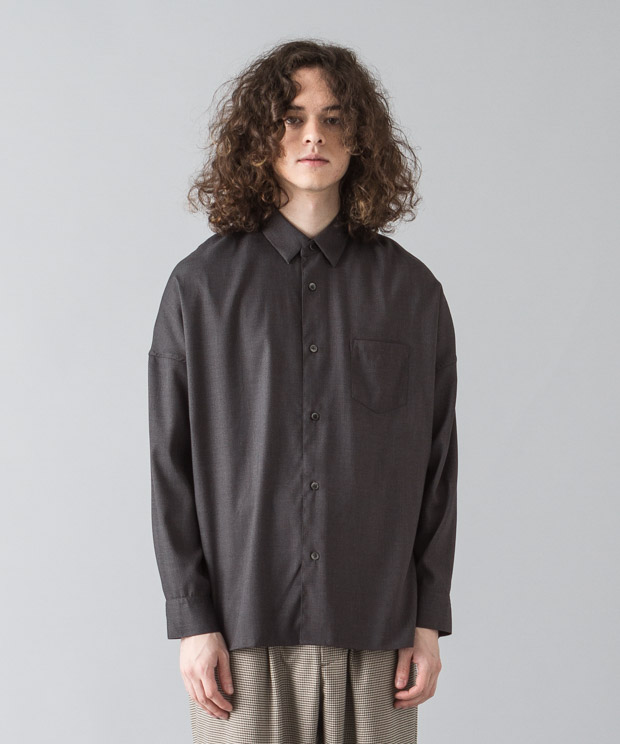 [予約商品]Tr Stretch Dropped Shoulders Shirt - CHARCOAL