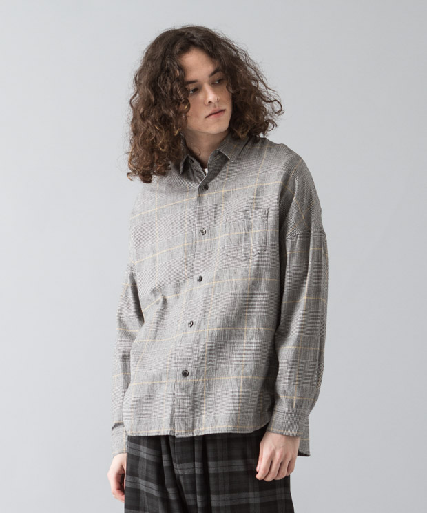 [予約商品]Glencheck Flannel Dropped Shoulders Shirt - BLACK