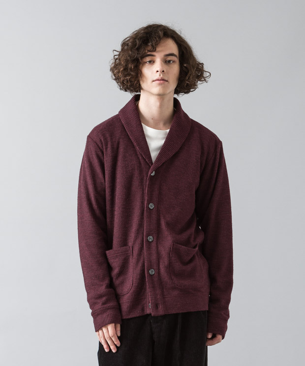 Double Cloth Shawl Cardigan - BURGUNDY