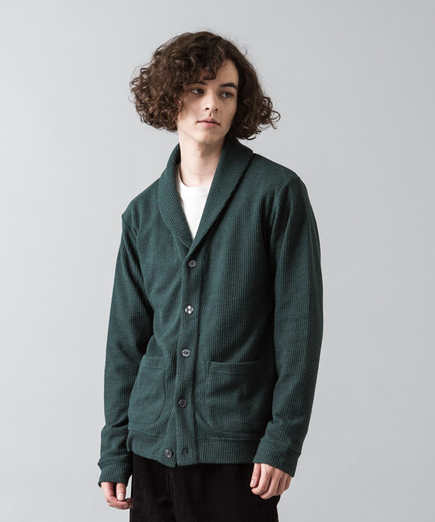 Double Cloth Shawl Cardigan - GREEN