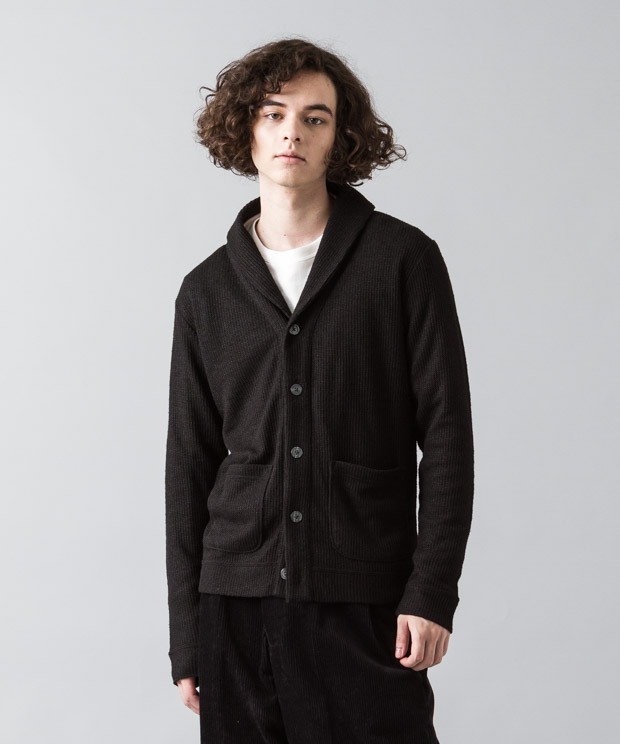 Double Cloth Shawl Cardigan - BLACK