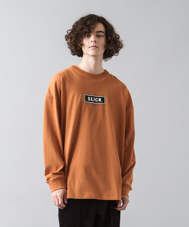 [予約商品]Dropped Shoulders T-Shirt (Box Logo) - ORANGE