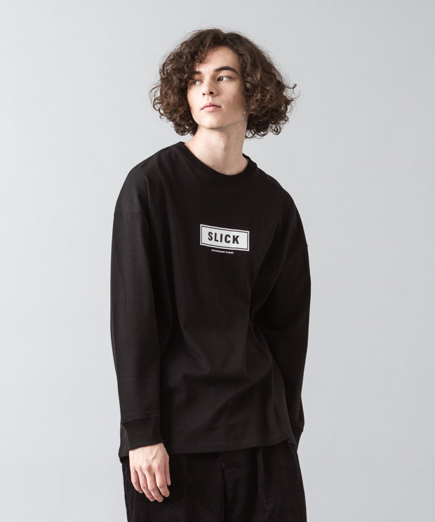 [予約商品]Dropped Shoulders T-Shirt (Box Logo) - BLACK