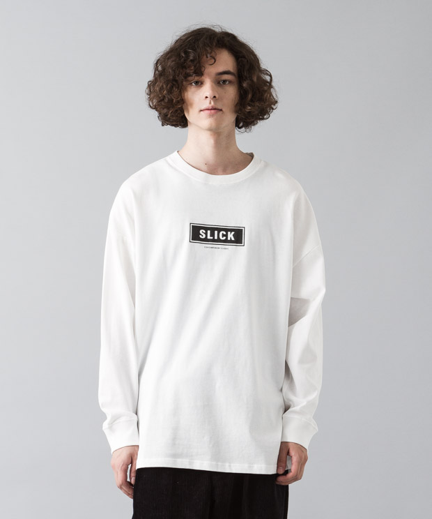 [予約商品]Dropped Shoulders T-Shirt (Box Logo) - WHITE