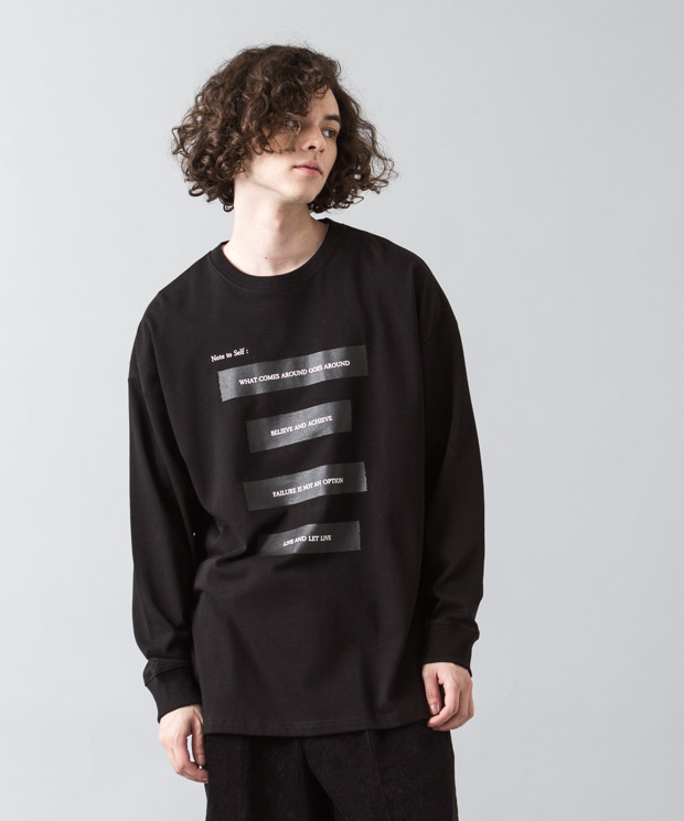 [予約商品]Dropped Shoulders T-Shirt (Note To Self) - BLACK