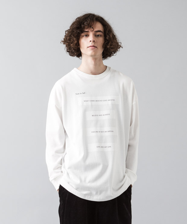 [予約商品]Dropped Shoulders T-Shirt (Note To Self) - WHITE
