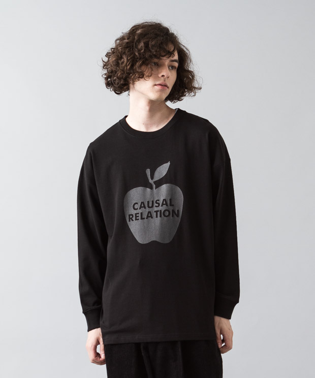 [予約商品]Dropped Shoulders T-Shirt (Apple) - BLACK