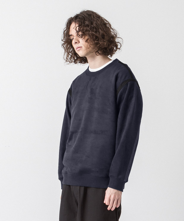 Stretch Faux Suede Piping Pullover - NAVY
