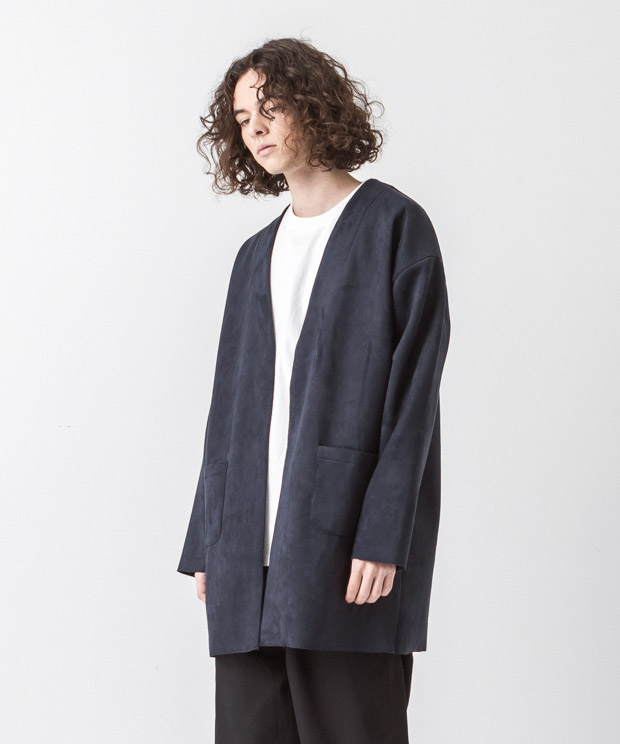 Stretch Faux Suede Collarless Coat - NAVY
