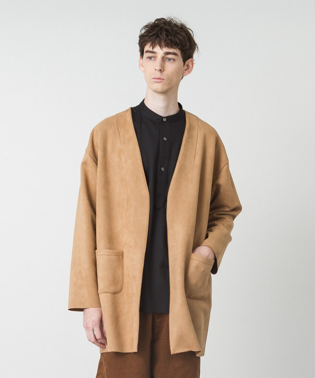 Stretch Faux Suede Collarless Coat - BEIGE