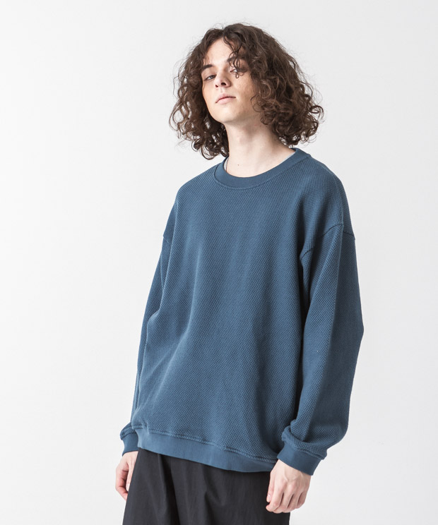 Moss Stitch Wide Pullover - BLUE GREEN