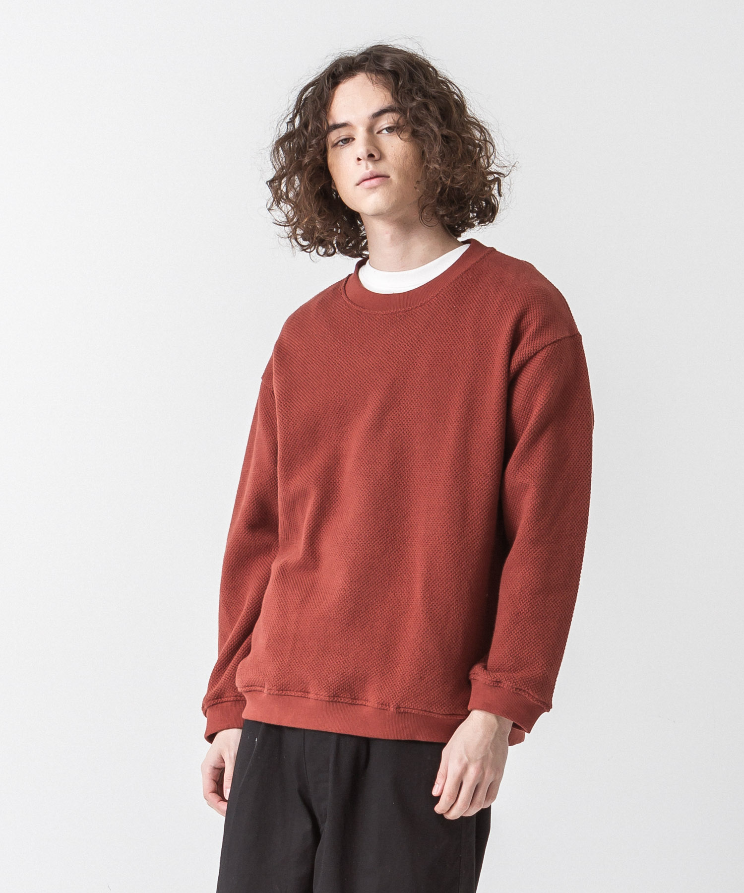 Moss Stitch Wide Pullover - BROWN