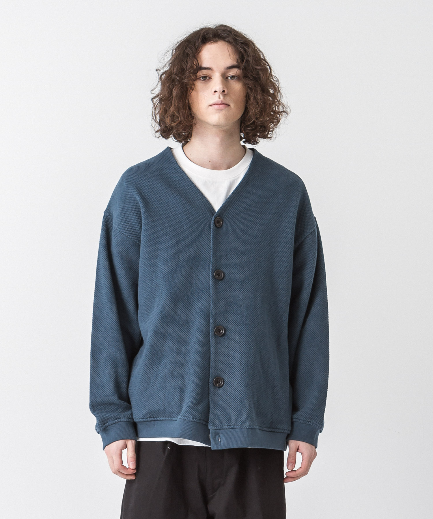 Moss Stitch Wide Cardigan - BLUE GREEN