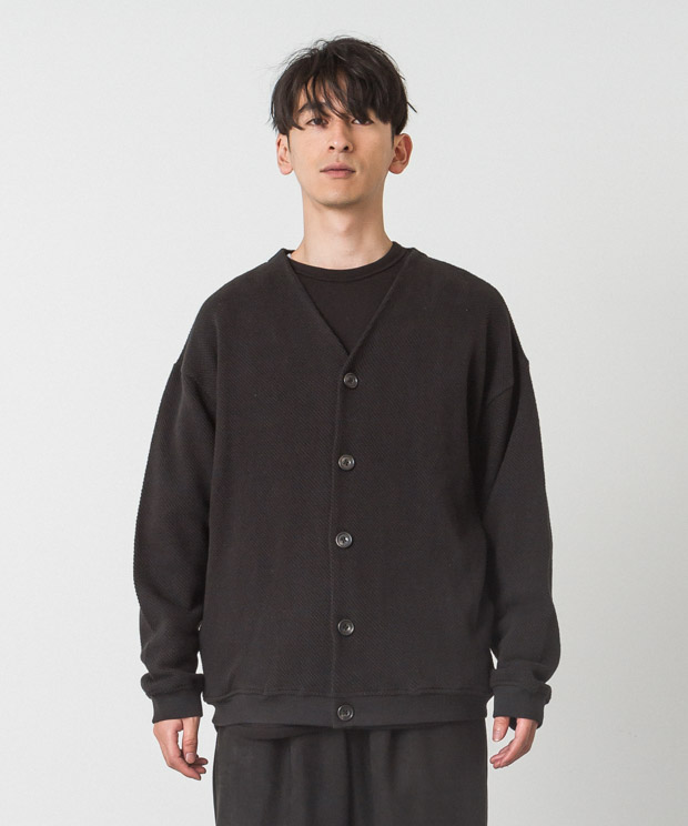 Moss Stitch Wide Cardigan - BLACK
