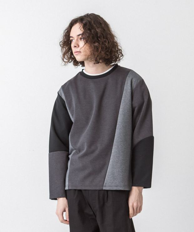 T/C Ponte Blocking Pullover - BLACK