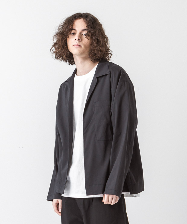 Linen Coolmax Buttonless Shirt - BLACK