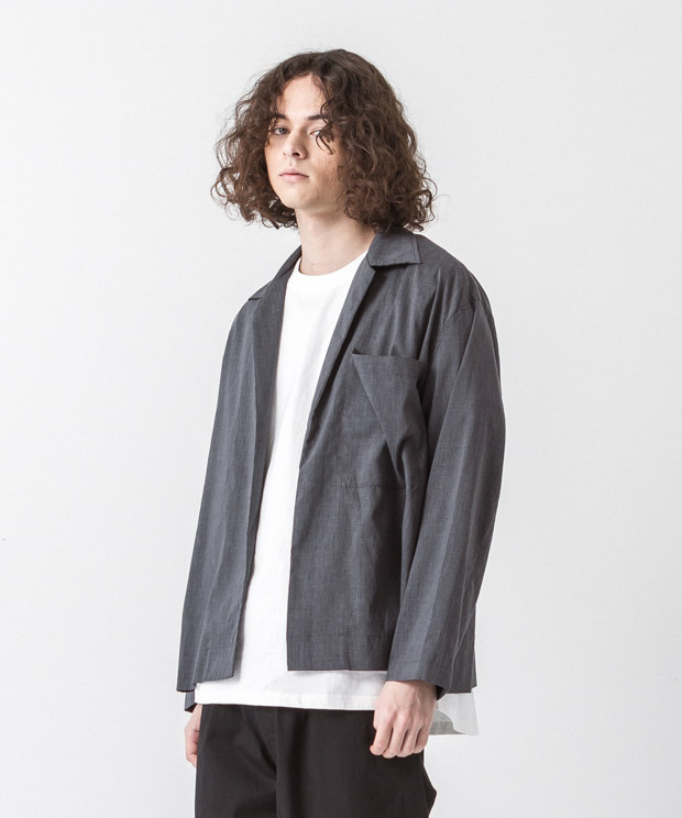 Linen Coolmax Buttonless Shirt - CHARCOAL