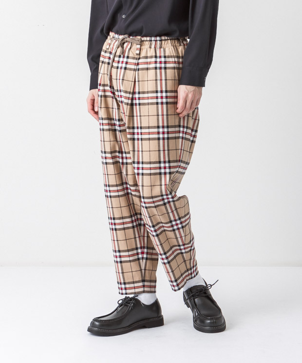 Tartan Check Stretch Easy Pants - BEIGE