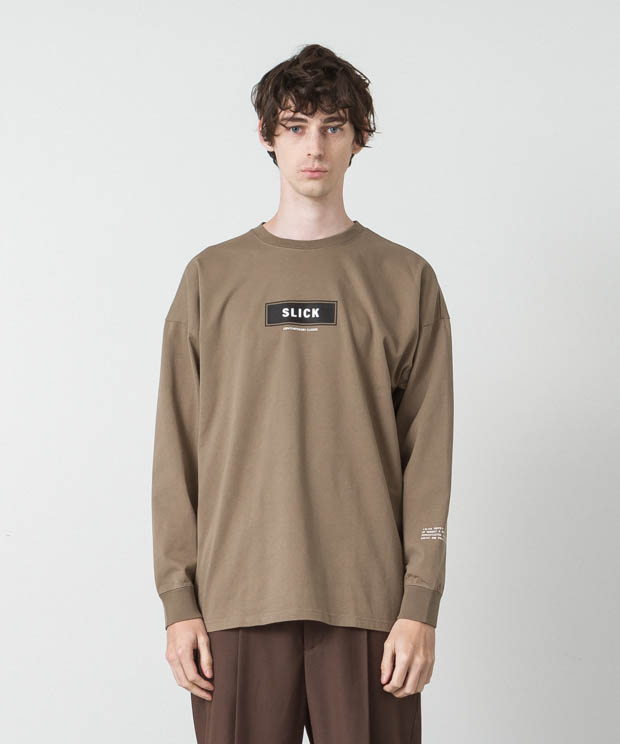 Dropped Shoulders Printed T-Shirt (Logo) - BEIGE
