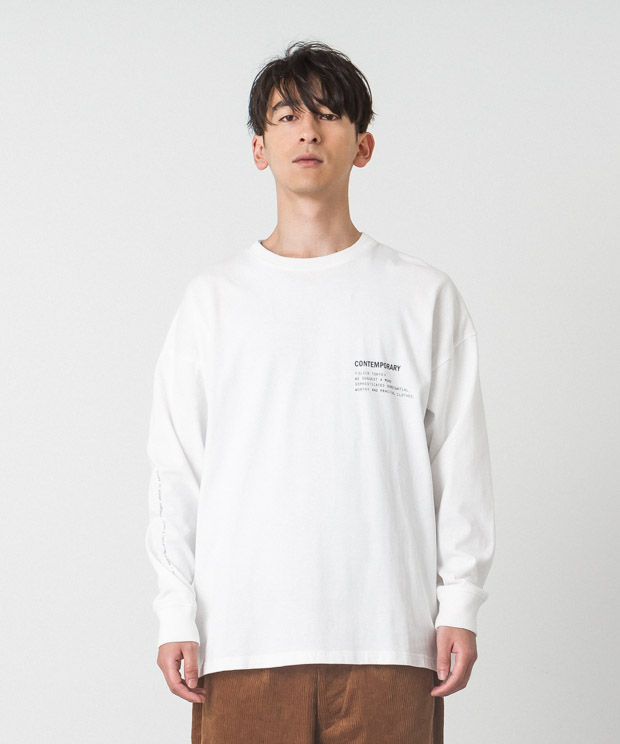 Dropped Shoulders Printed T-Shirt (Comtemporary) - WHITE