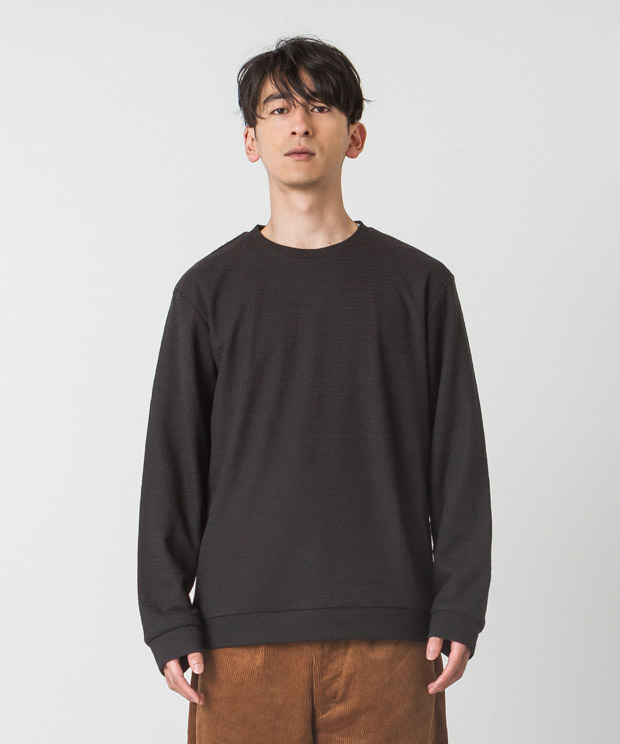 Double Cloth Crewneck Pullover - BLACK