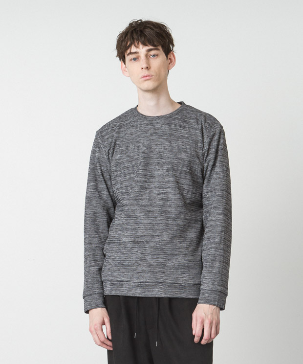 Double Cloth Crewneck Pullover - GRAY