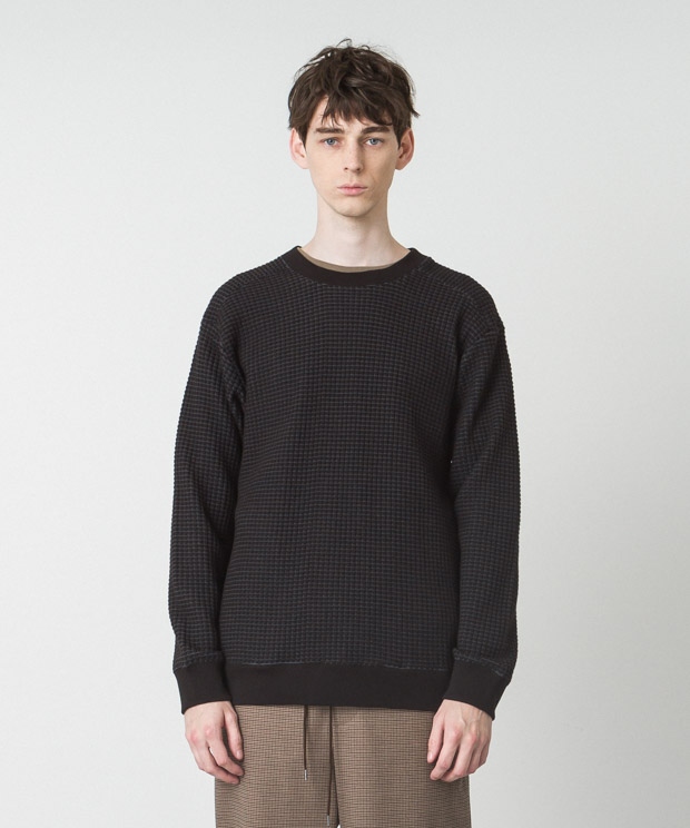 Big Waffle Pullover - BLACK
