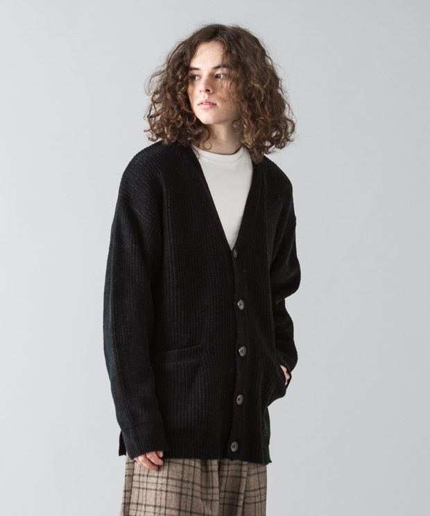 Mole Yarn Cardigan - BLACK