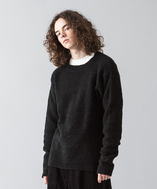 Stretch Boucle Crewneck Knit - BLACK