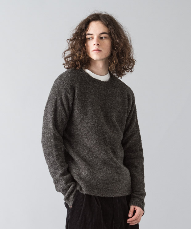 Stretch Boucle Crewneck Knit - CHARCOAL