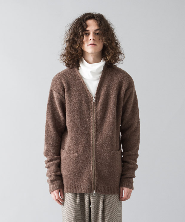 Stretch Boucle Zip Cardigan - BROWN